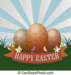 ovos, capim, páscoa, fundo