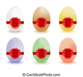 ovos coloridos, arcos, ribbons., páscoa, vermelho