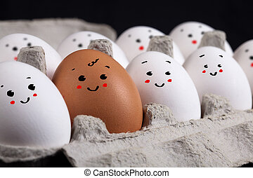 ovos, com, smiley enfrenta, em, casca ovo