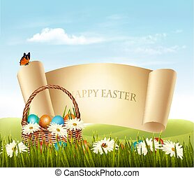 ovos, experiência., basket., vector., páscoa, feliz