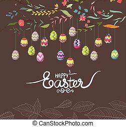 ovos, flores, páscoa, fundo