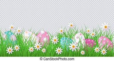 ovos, flores, vetorial, fundo, capim, páscoa