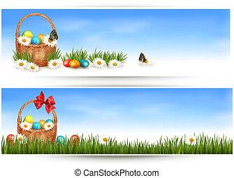 ovos, flowers., vetorial, cesta, bandeiras, páscoa