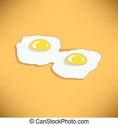 ovos, fritado, dois
