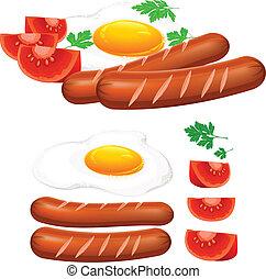 ovos fritados, linguiça, e, tomate