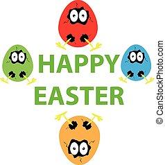 ovos, fundo, engraçado, páscoa, branca