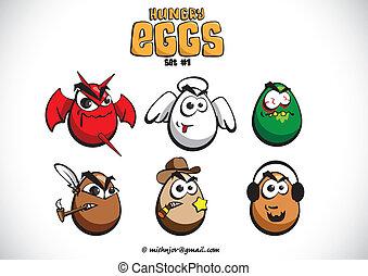 ovos, jogo, faminto