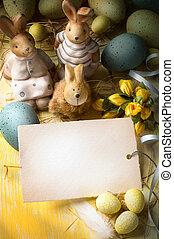 ovos páscoa, arte, coelhinho, família