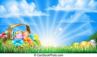 ovos páscoa, cesta, fundo