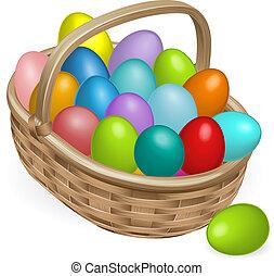 ovos páscoa, cesta, ilustração