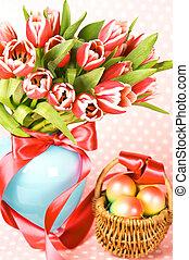 ovos páscoa, com, cor-de-rosa, tulips