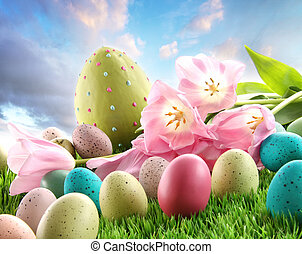 ovos páscoa, com, tulips, em, a, capim