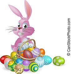 ovos páscoa, cor-de-rosa, coelhinho