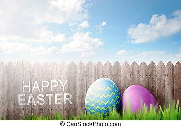 ovos páscoa, decoração, com, páscoa feliz, texto