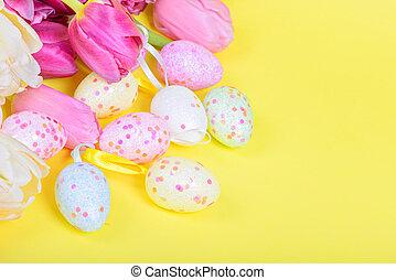 ovos páscoa, e, cor-de-rosa, tulips