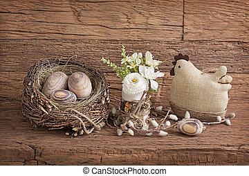 ovos páscoa, e, flores