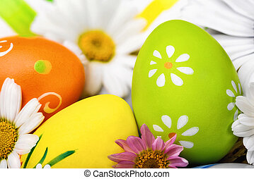 ovos páscoa, e, flores, closeup