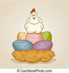 ovos páscoa, e, galinha
