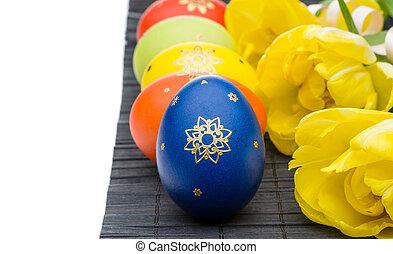 ovos páscoa, e, tulips