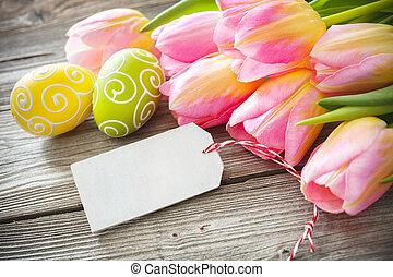 ovos páscoa, e, tulips, ligado, pranchas madeira