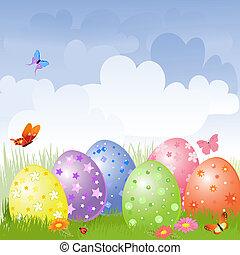 ovos páscoa, em, a, prado