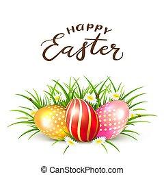 ovos páscoa, em, capim, com, flores