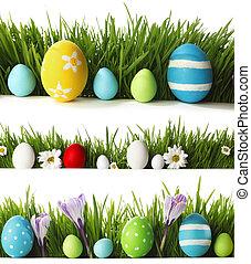 ovos páscoa, em, capim