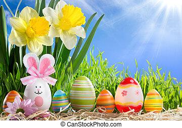ovos, páscoa, em, fila, ligado, palha