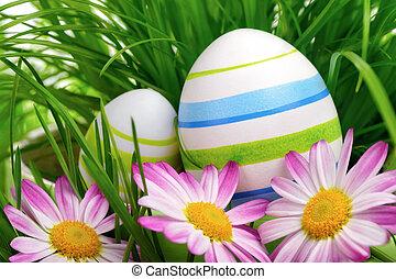 ovos páscoa, flores, e, capim