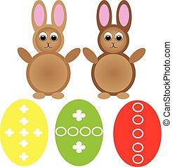 ovos, páscoa, fundo branco, coelhinho