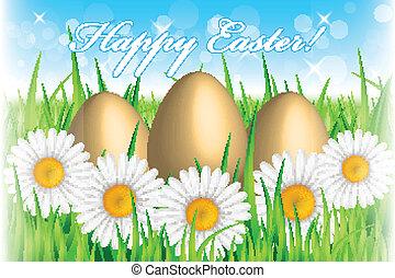 ovos, páscoa, fundo, vetorial