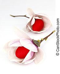 ovos páscoa, interior, a, flores mola