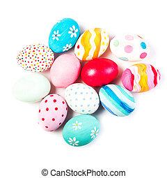 ovos páscoa, isolado, branco, fundo, com, copyspace., feliz, easter!