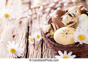 ovos páscoa, ligado, madeira