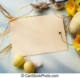 ovos páscoa, ligado, madeira, fundo