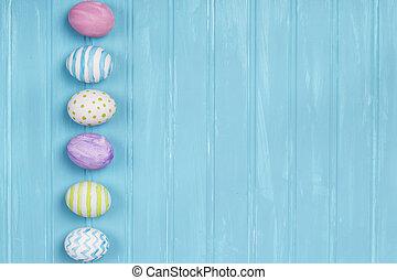 ovos páscoa, ligado, um, experiência azul