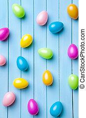 ovos páscoa, ligado, um, madeira, fundo