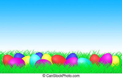 ovos páscoa, ligado, um, prado
