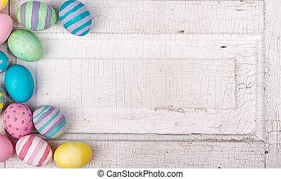 ovos páscoa, ligado, um, rachado, antigüidade, fundo