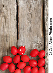 ovos páscoa, madeira, antigas, vermelho