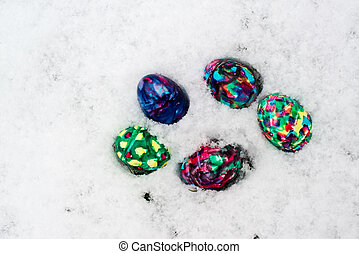 ovos, páscoa, neve