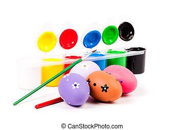 ovos páscoa, pintado, com, vário, brushes.