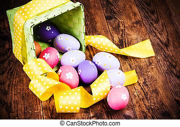 ovos páscoa, pintado, ligado, a, madeira, experiência.