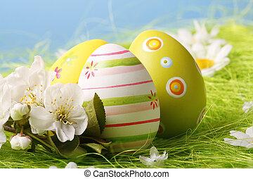 ovos páscoa, sentar-se grama