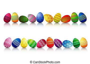 ovos páscoa, uma fileira