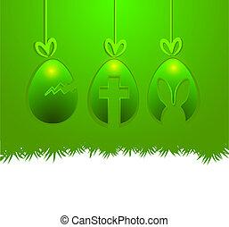 ovos, penduradas, páscoa, espaço cópia