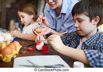 ovos pintura, crianças, páscoa