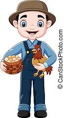 ovos, segurando, agricultor, cesta, galinha, caricatura