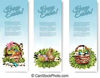ovos, três, basket., vector., bandeiras, páscoa, feliz