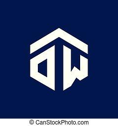 OW Initial letter hexagonal logo vector